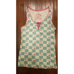 Cute Checkered and Heart Tank Top